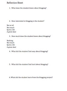 blog relection sheet SLIM